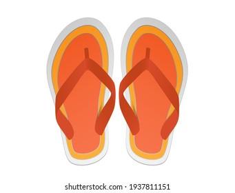 Flip flops with dominant orange color