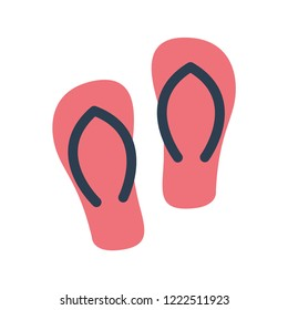 flip flops flat icon. You can be used flip flops icon for several purposes like: websites, UI, UX, print templates, presentation templates, promotional materials, web and mobile phone apps.