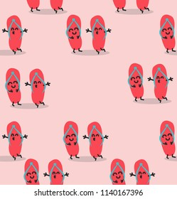 flip flops  funny characters pattern