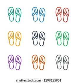 flip flops icon white background. Editable outline flip flops icon from summer. Trendy flip flops icon for web and mobile.