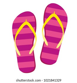 Flip flops isolate on a white background. Slippers icon. Colored flip flops pink, yellow striped on white background. Vector illustration EPS10.