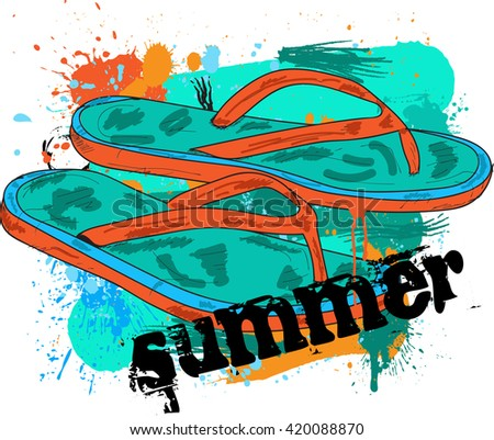 Flip Flops Over Paint Color Splash Stock Vector Royalty Free