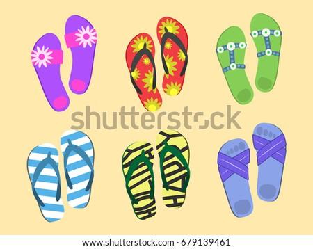 a12d55bb99e0 Flip flops set. Colorful beach wear. Men s and women s summer fashion. -  Vector
