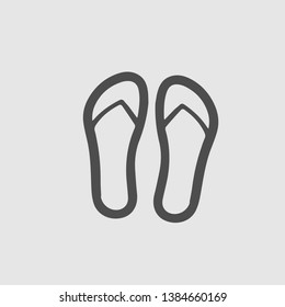 flip flops vector icon. Summer symbol. Sandals simple isolatedpictogram.