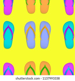 Flip flops vector seamless seaside background. Festive slipper beach footwear to walk on sand beaches, symbol of tropical holidays. Funny sea shoes rubber outfit accessoir pattern. Vacation sandals.