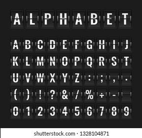 Flip font. Airport flight board info panel departure destination aircraft airline alphabet arrive terminal banner vector illustration