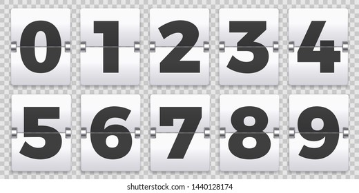 Flip numbers counter. Old mechanical countdown flips, retro scoreboard number sign and numeric counters. Score board indicator, old clock timer numbers isolated vector symbols set