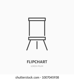 Flipchart flat line icon. Marker board sign. Thin linear logo for presentation classroom.