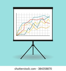 Flipchart, whiteboard or projection screen with marketing data. Flat design. Vector illustration.
