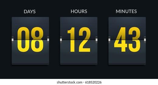 Flip-clock countdown timer. Eps10 vector.