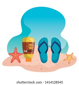 flip-flop with suncream and starfishes in the beach sand