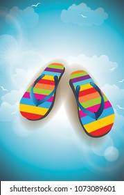 flip-flops beach vector