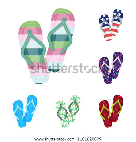 16c9e323c390f4 Flip-flops cartoon icons in set collection for design. Beach shoes vector  symbol stock