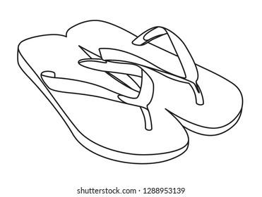 flipflops contour vector illustration