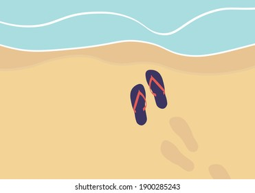 Flip-flops on a sandy ocean beach. Flip flops by the sea. Summer vacation vector. Summer background of beach and shoes on sand. Sea waves, sand and footprints in sand