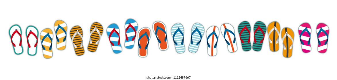 Flip-flops on the white background.  Eps 10 vector file.