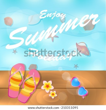 c353ae6ea Flipflops Sunglasses Near Water On Wooden Stock Vector (Royalty Free ...