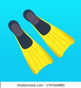 flipper vector, swimming, scuba diving, sea, water, summer.