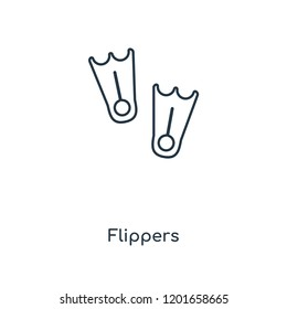 Flippers concept line icon. Linear Flippers concept outline symbol design. This simple element illustration can be used for web and mobile UI/UX.