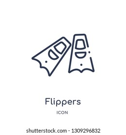 flippers icon from summer outline collection. Thin line flippers icon isolated on white background.