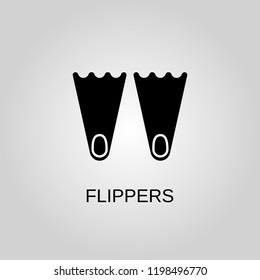 Flippers icon. Flippers symbol. Flat design. Stock - Vector illustration.