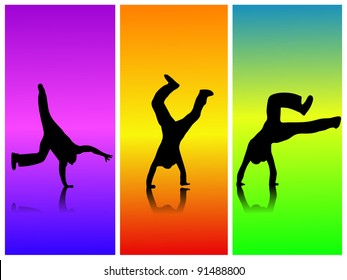 Flips on a colorful background.