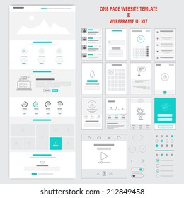 Fllat responsive one page website template and mobile app wireframe kit. Vector