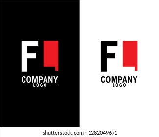 fl/lf Initial abstract company Logo Design with negative space. company logo template vector