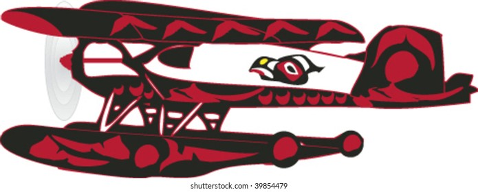 Float plane with bodywork decorations rendered in Northwest Coast Native style.