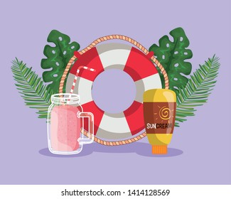 float with smoothie beverage and suncream with leaves plants