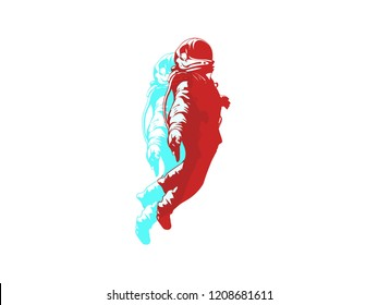 Floating Astronaut in the space. Spaceman. Blue and red colors graphic - Galaxy Vector