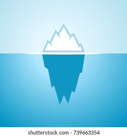 Floating big iceberg in blue water, vector cartoon icon