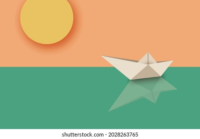 Floating boat in the sea. Concept in modern 3d paper cut out style. Summer time , sea and boat. Eps10 vector illustration.