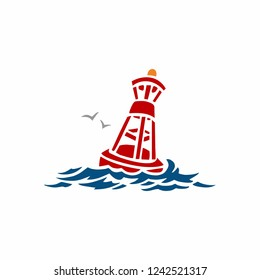 Floating buoy on the sea vector illustration in flat color design
