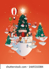floating christmas wonderland greeting template vector/illustration