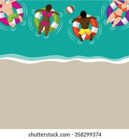 Floating couples on inner tubes flat design background. EPS 10 vector stock illustration for greeting card, ad, promotion, poster, flier, blog, article, ad, marketing, retail shop, brochure, signage