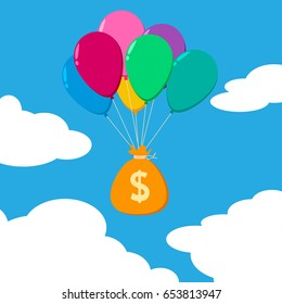 Floating currency flat - money bag&balloon
