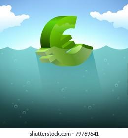 Floating the euro. Deep water (sea, ocean), waves, clouds, blue sky.