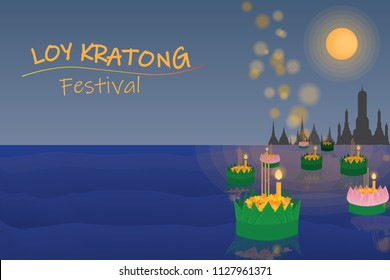 floating flowers loy kratong thailand festival full super moon background night and temple scene celebration culture with copy space