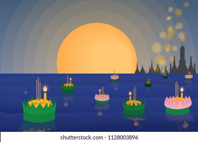 floating flowers loy kratong thailand festival full super moon background night and temple scene celebration culture with copy space eps10 vector illustration