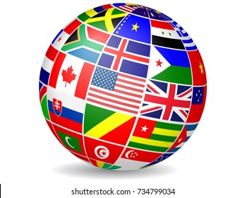 Floating globe covered with world flags.Vector