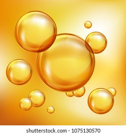 Floating golden bubbles. Realistic vector for beauty, personal care and cosmetic concept.