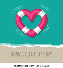 Floating heart shaped life buoy at the beach. EPS 10 vector
