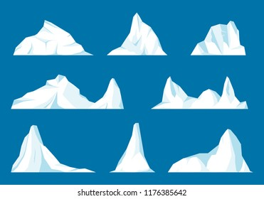 Floating iceberg set. Frozen mountain and icy, frezen liquid and north theme.Set of isolated iceberg or drifting arctic glacier. Design for video games. Arctic. Antarctic.