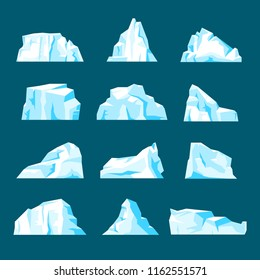 Floating iceberg set. Ice mountain, large piece of freshwater blue ice in open water. Vector flat style cartoon iceberg illustration isolated from background