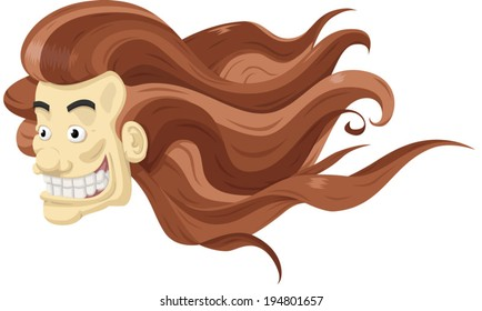 Floating man's head with long brown hair