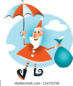 Floating Santa Just in time for Christmas - Santa has arrived floating down on his umbrella. I have used a retro look and limited color palette.