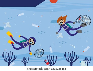 Floating sea garbage with Scuba divers swimming on coral reefs and fish Vector illustration of pollution cleaning trash from ocean