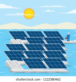 floating solar farm, solar cell location on the surface water