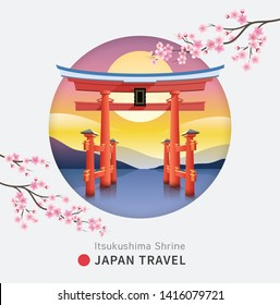 Floating torii shinto gate of Itsukushima shrine, Miyajima island of Hiroshima, Japan against the backdrop of the mountains at the sunset and sakura flower cherry blossom. Vector illustrations.
